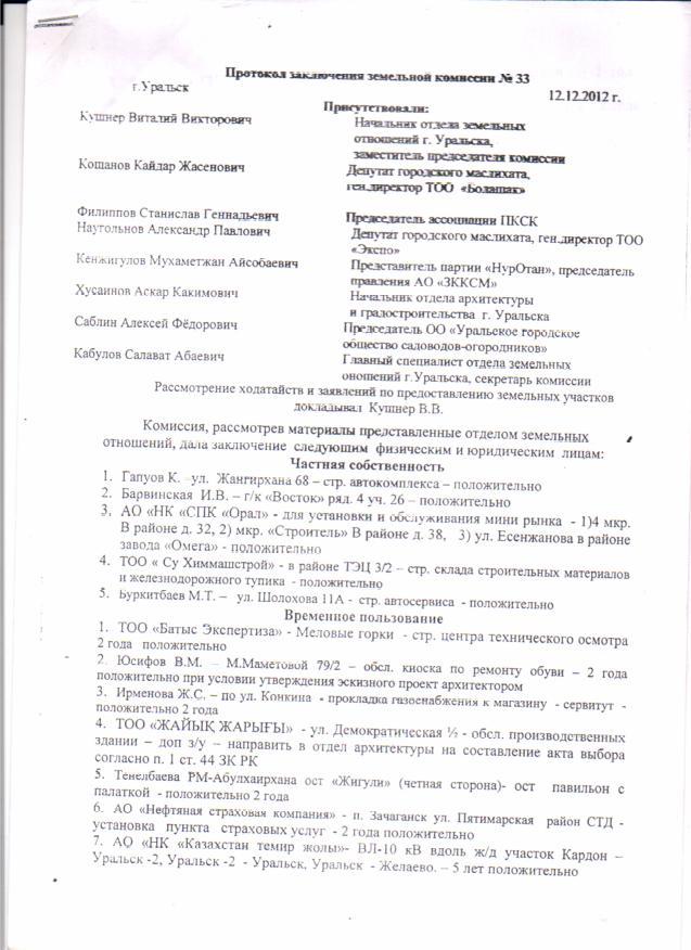 Земельная комиссия 2012г 1лист