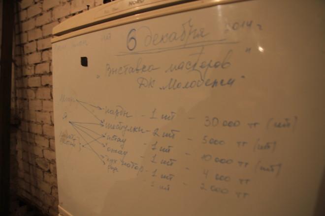 Этот холодильник участники артели используют как офисную доску - записывают рабочие планы и итоги планерок.