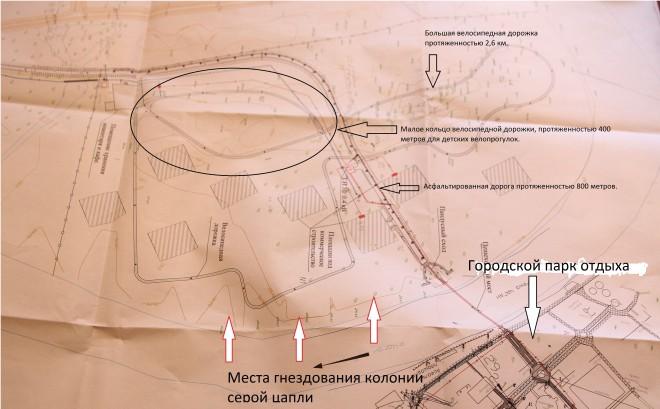 План-схема освоения правого берега реки Чаган в районе городского парка отдыха