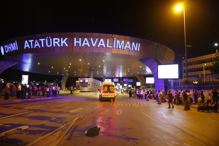 Ambulance cars arrive at Turkey's largest airport, Istanbul Ataturk, Turkey, following a blast June 28, 2016.     REUTERS/Osman Orsal - RTX2IQUY