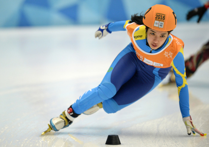 Anita Nagay KAZ competes during the Short Track Speed Skating  Mixed NOC Team Relay at Gjovik Olympic Cavern Hall during the Winter Youth Olympic Games, Lillehammer, Norway, 20 February 2016. Photo: Jon Buckle for YIS/IOC  Handout image supplied by YIS/IOC